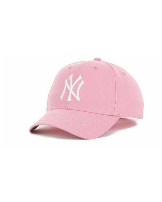 47 Brand - Pink New York Yankees Mvp Curved Cap - Lyst