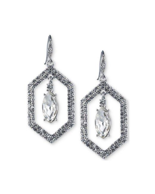Carolee | White Silver-tone Crystal Openwork Drop Earrings | Lyst