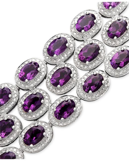 Macy's | Metallic Sterling Silver Bracelet, Amethyst Three Row Bracelet (25 Ct. T.w.) | Lyst