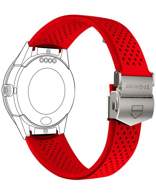 Tag Heuer - Modular Connected 2.0 Red Perforated Rubber Smart Watch Strap 1ft6080 - Lyst