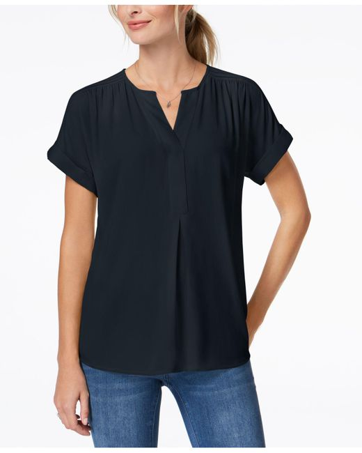 Charter Club - Blue Petite Split-neck Top, Created For Macy's - Lyst