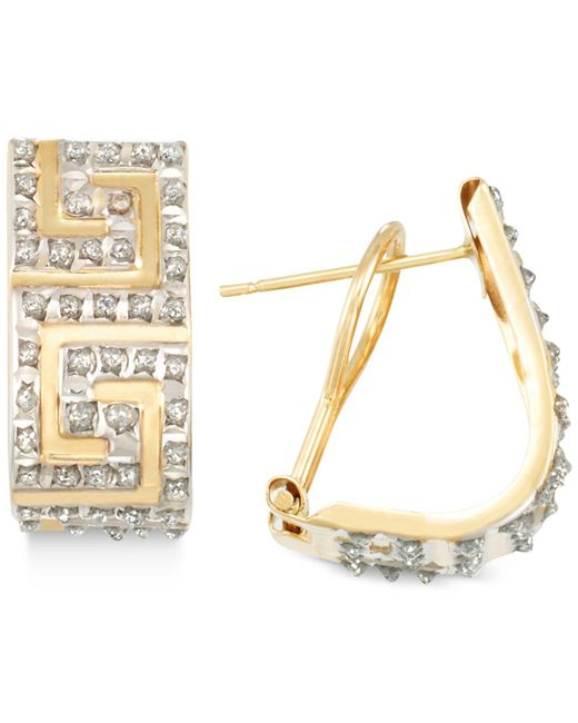 Macy's | Metallic Diamond Accented Greek Key J-hoop Earrings In 14k Gold Over Resin Core Diamond And Crystalized Diamond Dust | Lyst