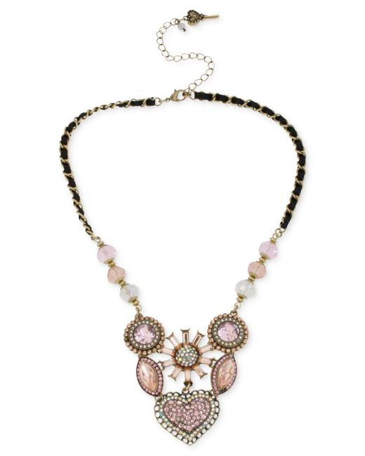 Betsey Johnson - Metallic Gold-tone Crystal Gem Cluster Frontal Necklace - Lyst