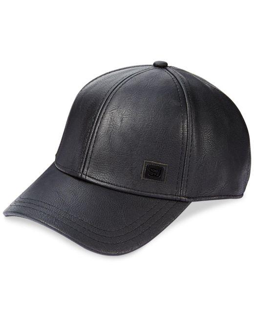 Sean John - Black Men's Faux Leather Cap for Men - Lyst