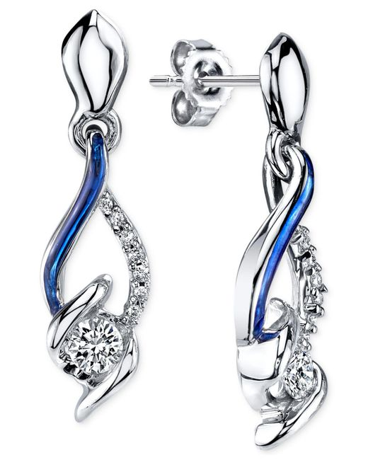 Sirena | Metallic Diamond Drop Earrings In 14k White Gold (1/4 Ct. T.w.) | Lyst