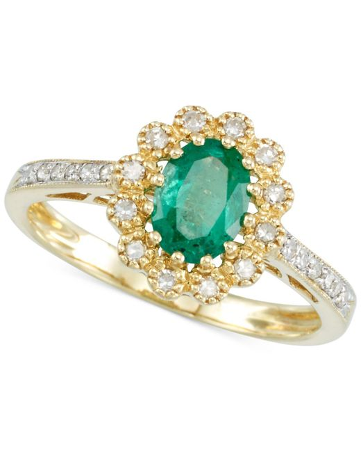 Rare Featuring Gemfields - Green Certified Emerald (3/5 Ct. T.w.) And Diamond (1/6 Ct. T.w.) Flower Ring In 14k Gold - Lyst