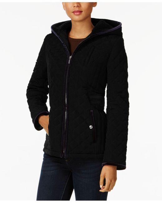 Laundry by Shelli Segal | Black Quilted Velvet-trim Jacket | Lyst