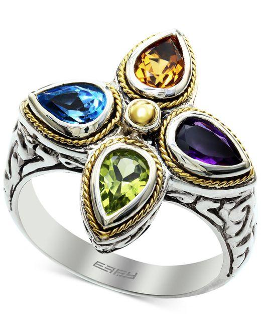 Effy Collection - Metallic Effy® Multi-gemstone (1-5/8 Ct. T.w.) Ring In Sterling Silver & 18k Gold - Lyst