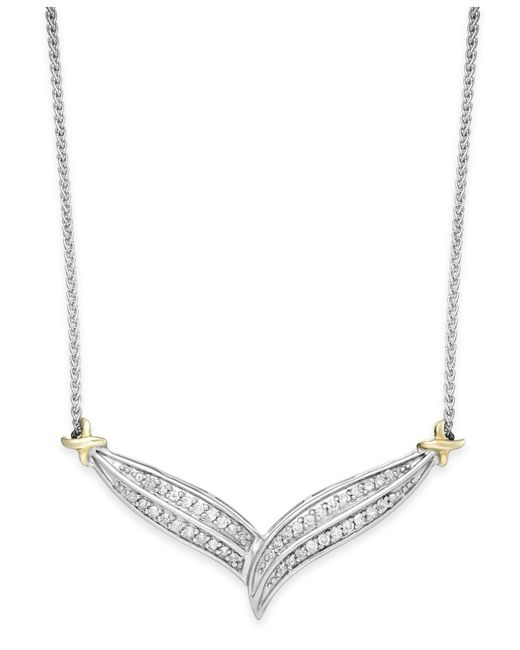 Macy's Metallic Diamond Two-row V-necklace In 10k Gold And Sterling Silver (1/3 Ct. T.w.)