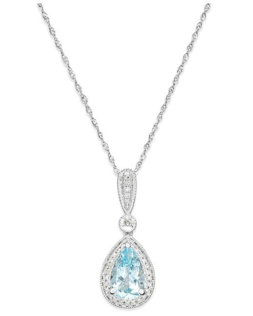 Arabella - Blue Aquamarine (1 Ct. T.w.) And Diamond (1/10 Ct. T.w.) Pendant Necklace In 14k White Gold - Lyst