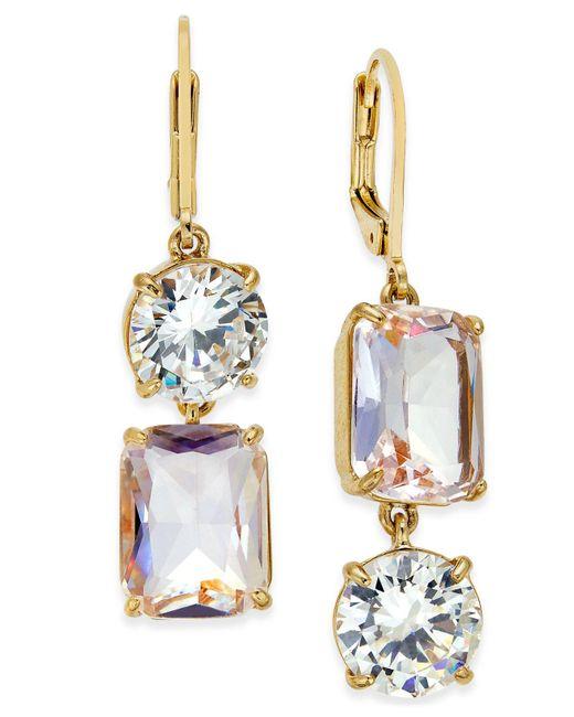 Kate Spade | Metallic Gold-tone Crystal Mismatch Earrings | Lyst