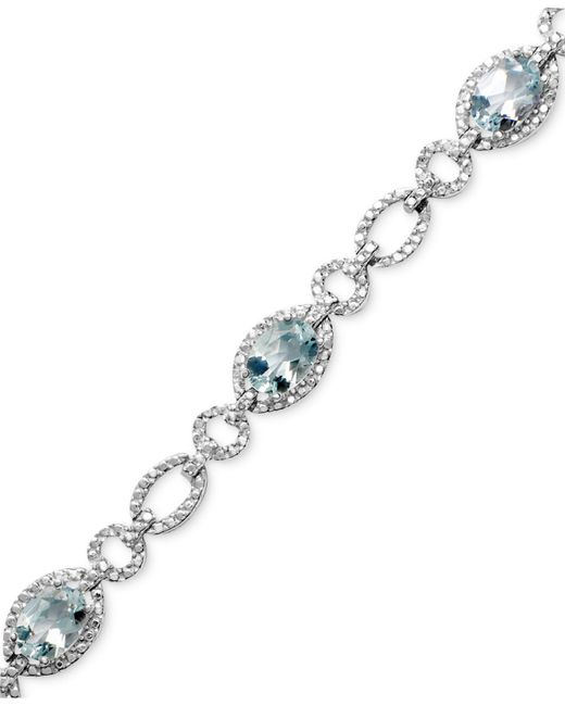 Macy's - Metallic Sterling Silver Bracelet, Aquamarine (5 Ct. T.w.) And Diamond Accent - Lyst