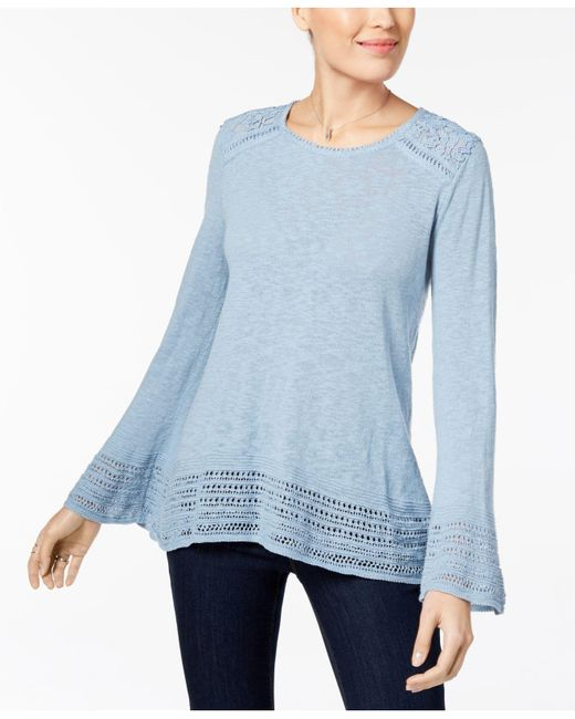 Style & Co. - Blue Cotton Crocheted-trim Sweater - Lyst
