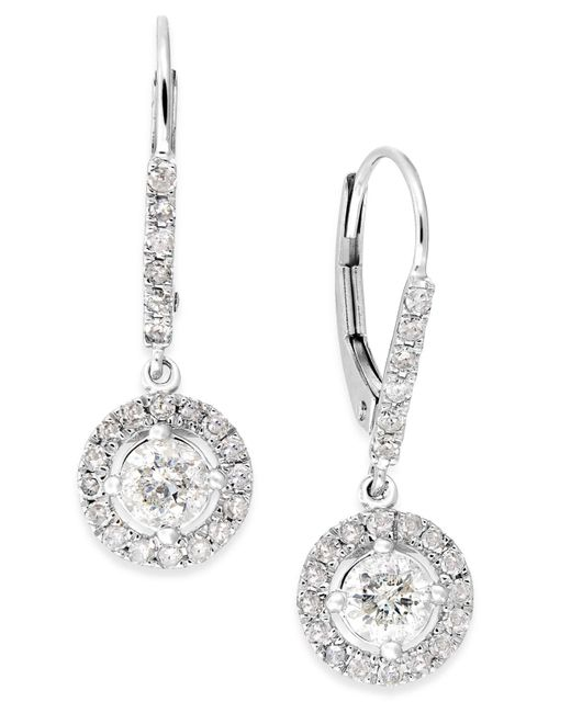 Macy's - Metallic Diamond Dangle Drop Earrings In 14k White Gold (1 Ct. T.w.) - Lyst