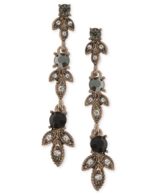 Marchesa | Metallic Gold-tone Clear & Jet Crystal Linear Drop Earrings | Lyst