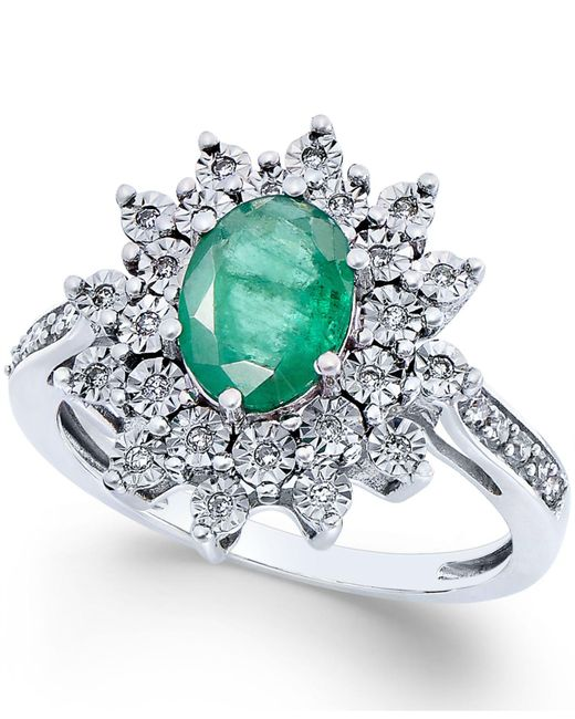 Macy's - Multicolor Emerald (1-1/5 Ct. T.w.) And Diamond (1/5 Ct. T.w.) Ring In 14k White Gold - Lyst