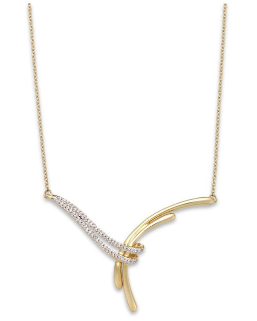 Macy's | Metallic Diamond Bypass Y-necklace In 10k Gold (1/10 Ct. T.w.) | Lyst