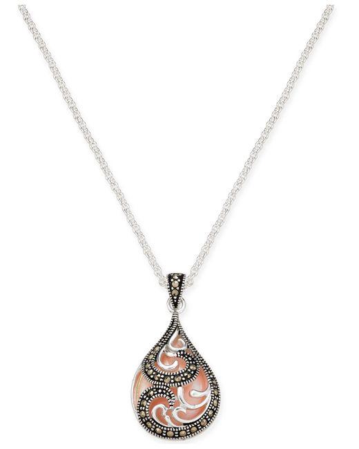 """Macy's - Metallic Marcasite & Pink Shell Teardrop 18"""" Pendant Necklace In Fine Silver-plate - Lyst"""