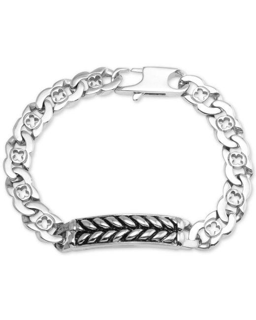 Macy's - Metallic Herringbone And Link Bracelet In Stainless Steel And Black Ion-plate - Lyst