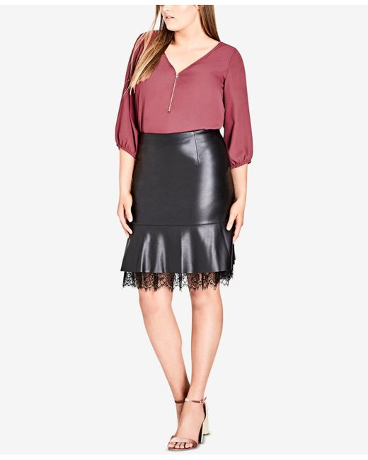 Lyst City Chic Trendy Plus Size Faux Leather Peplum Skirt In Black