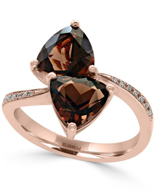 Effy Collection | Metallic Smoky Quartz (3-3/8 Ct. T.w.) And Diamond Accent Bypass Ring In 14k Rose Gold | Lyst
