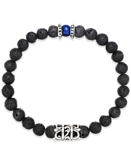 Macy's - Black Men's Onyx Lava Bead Bracelet In Stainless Steel - Lyst