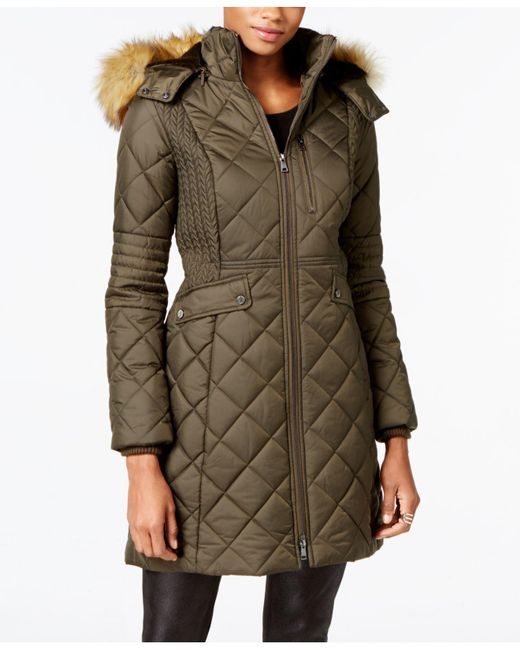 Jones New York   Green Faux-fur-trim Knit-side Quilted Coat   Lyst