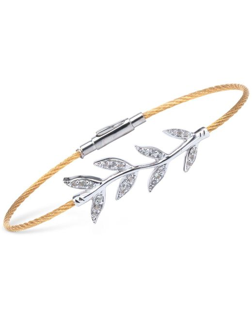Charriol - Multicolor Women's Laetitia White Topaz-accent Leaves Two-tone Pvd Stainless Steel Bendable Cable Bangle Bracelet 04-421-1222-2 - Lyst