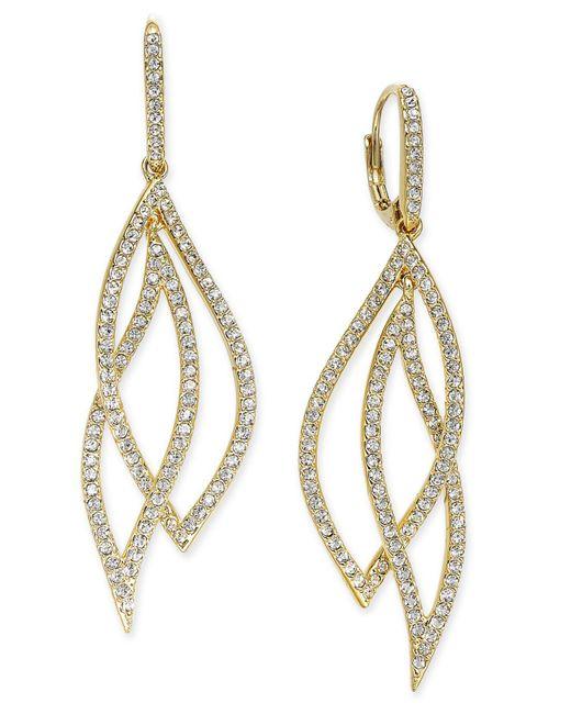 Danori | Metallic Pavé Crystal Leaf Earrings | Lyst