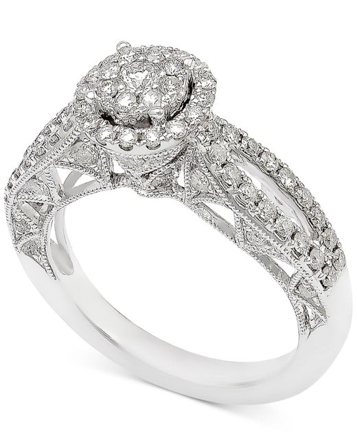 Macy's | Metallic Diamond Pavé Engagement Ring (1 Ct. T.w.) In 14k White Gold | Lyst