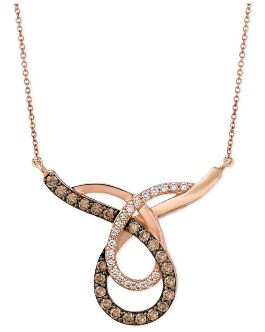 Le Vian - Metallic Chocolate (3/4 Ct. T.w.) And White (1/4 Ct. T.w.) Loop Pendant Necklace In 14k Rose Gold - Lyst