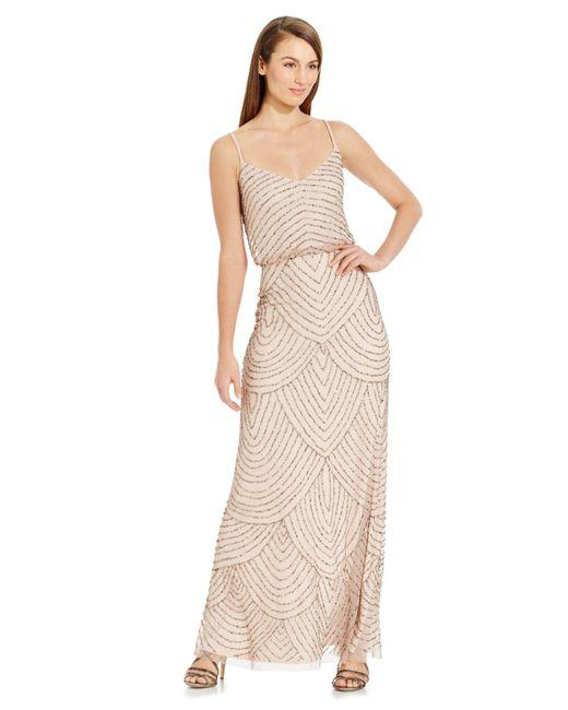 Adrianna Papell | Metallic Spaghetti-Strap Beaded Blouson Gown | Lyst