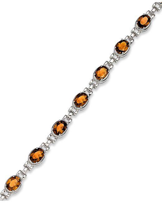 Macy's - Metallic Sterling Silver Bracelet, Citrine Oval Link Bracelet (10 Ct. T.w.) - Lyst