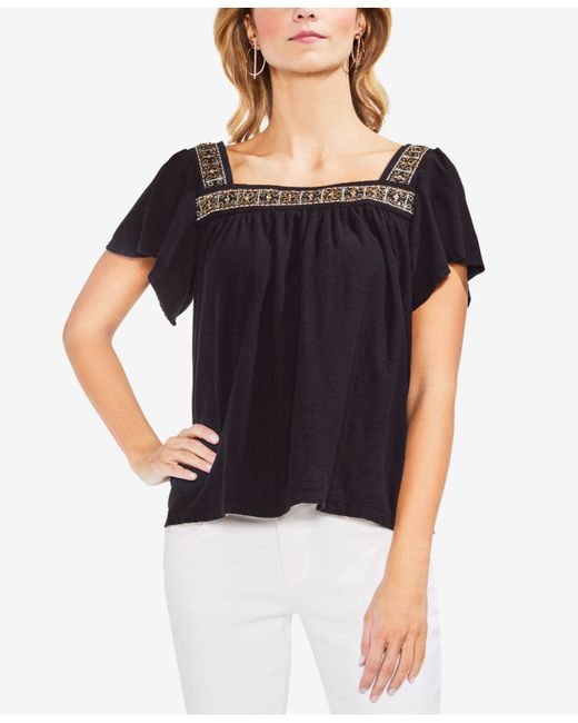Vince Camuto - Black Cotton Beaded Top - Lyst