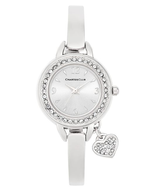 Charter Club - Metallic Women's Heart Charm Silver-tone Bangle Bracelet Watch 26mm - Lyst