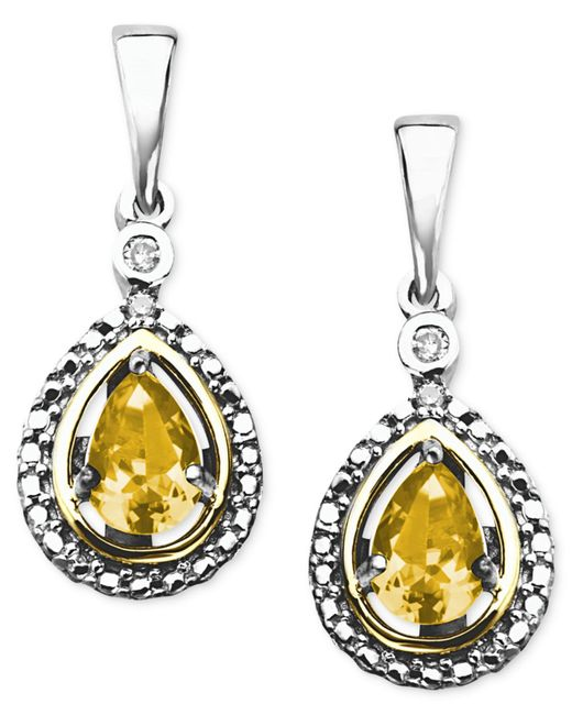 Macy's | Metallic 14k Gold And Sterling Silver Earrings, Citrine (3/4 Ct. T.w.) And Diamond Accent Teardrop Earrings | Lyst