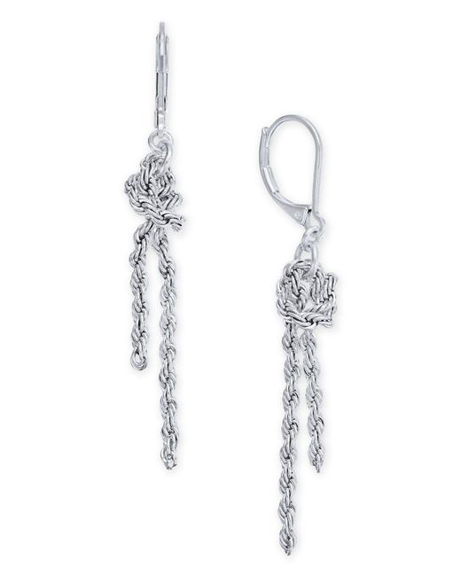 Charter Club - Metallic Silver-tone Knotted Chain Drop Earrings, Created For Macy's - Lyst
