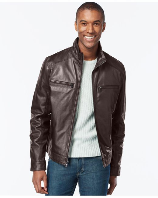 Michael Kors - Brown Big And Tall Leather Jacket for Men - Lyst