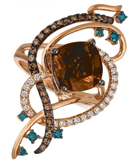 Le Vian - Metallic Exotics® Crazy Collection® Chocolate Quartz® (3-3/4 Ct. T.w.) & Diamond (3/4 Ct. T.w.) Statement Ring In 14k Rose Gold - Lyst