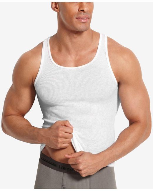 d0886cd2e5abf4 Lyst - Hanes Big   Tall 4-pk. A-line Cotton Tank Undershirts in ...