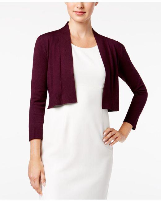 Calvin Klein - Purple Solid Shrug Cardigan - Lyst