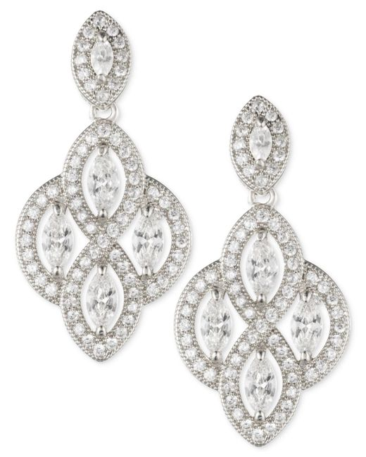 Anne Klein - Metallic Marquise Crystal Drop Earrings - Lyst