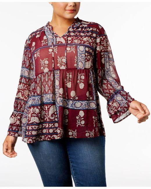Style & Co. | Red Plus Size Floral-print Split-neckline Blouse | Lyst