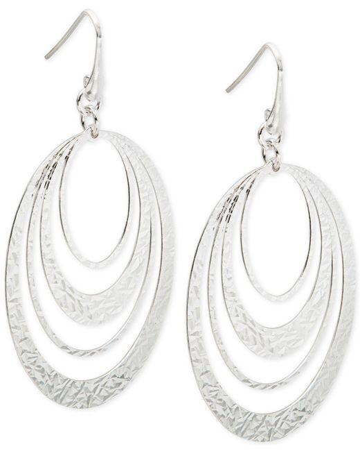 Macy's | Metallic Multi-ring Gypsy Hoop Earrings In Sterling Silver | Lyst
