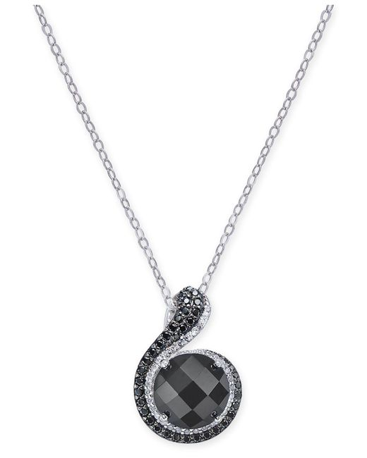 Macy's | Metallic Onyx (10mm), Diamond (1/6 Ct. T.w.) And Black Spinel Pendant Necklace In Sterling Silver | Lyst