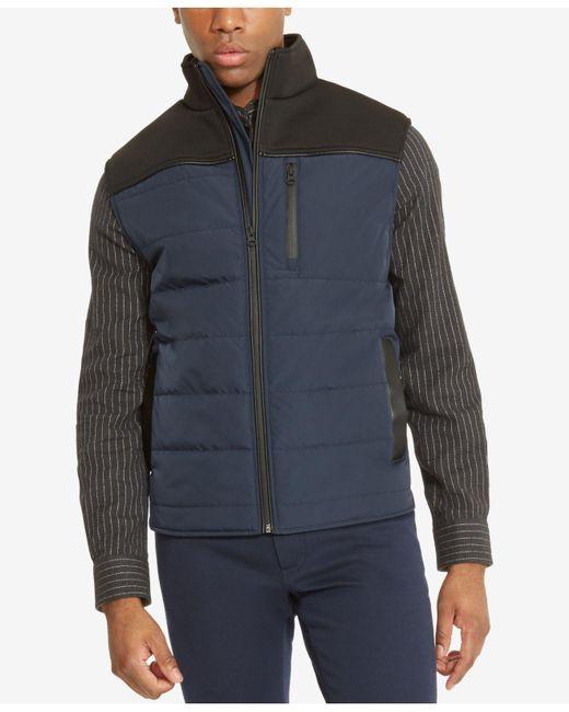 Kenneth Cole Reaction | Blue Men's Colorblocked Puffer Vest for Men | Lyst