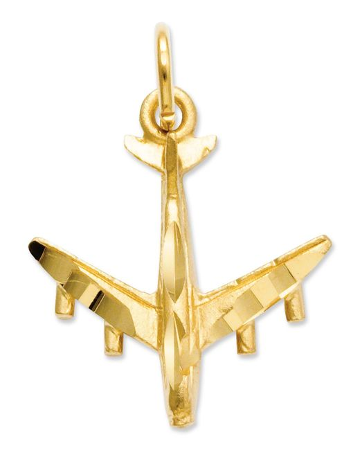Macy's | Metallic 14k Gold Charm, 3d Airplane Charm | Lyst