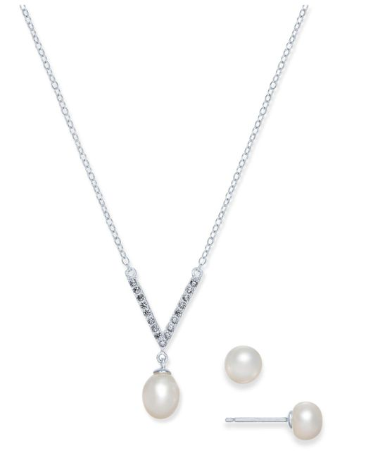 Macy's | Metallic Cultured Freshwater Pearl (7 X 9mm & 6mm) & Cubic Zirconia Jewelry Set In Sterling Silver | Lyst