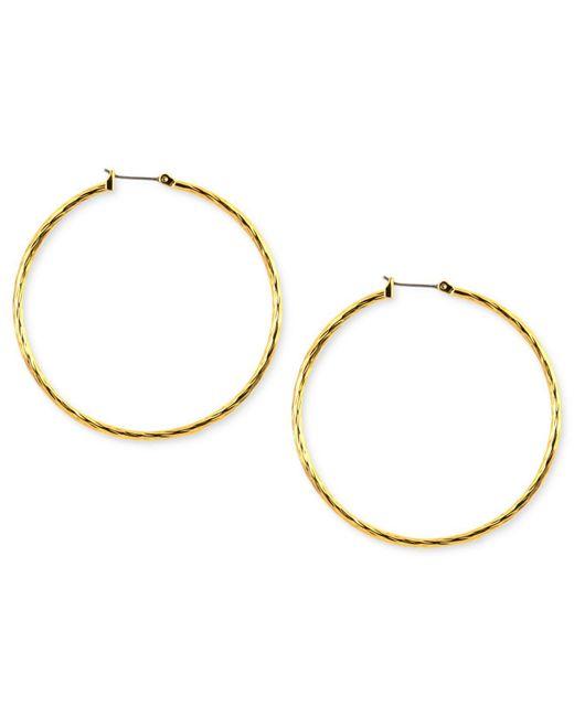 Anne Klein - Metallic Gold-tone Glass Hoop Earrings - Lyst