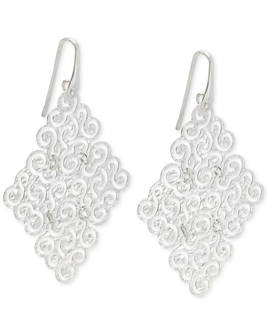 Macy's - Metallic Geometric Filigree Drop Earrings In Sterling Silver - Lyst
